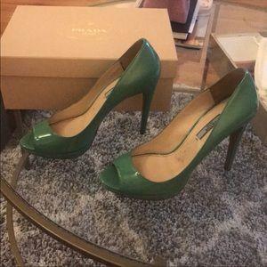 Prada green peep-toe heels